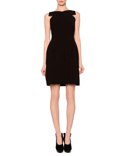 Crisscross Pleated Matte Crepe Dress