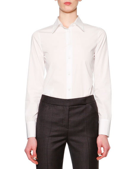 Giorgio Armani Long-Sleeve Button-Front Blouse