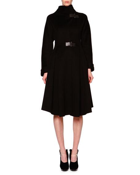 Giorgio Armani Double-Faced Cashmere Hinge-Buckle Princess Coat