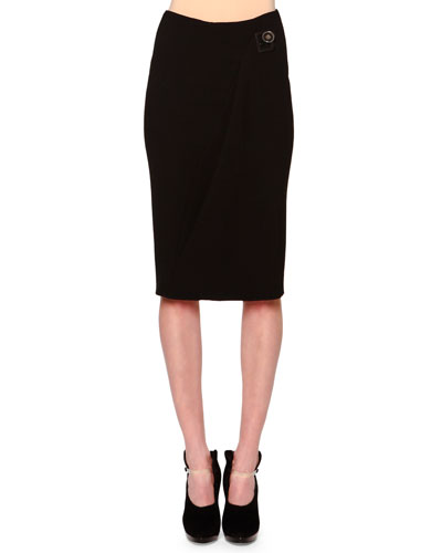 Side-Draped Buckle-Detailed Skirt