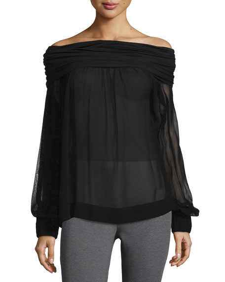 Donna Karan Long-Sleeve Off-the-Shoulder Blouse, Black