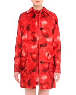 Heart-Print Brocade Mid-Length Coat
