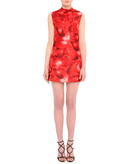 Valentino Heart-Print Tie-Neck Dress