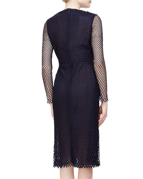 Lattice Mesh Midi Dress