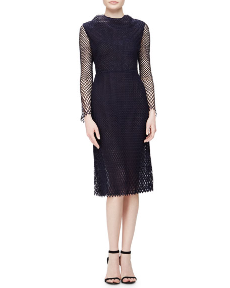 Adam Lippes Lattice Mesh Midi Dress