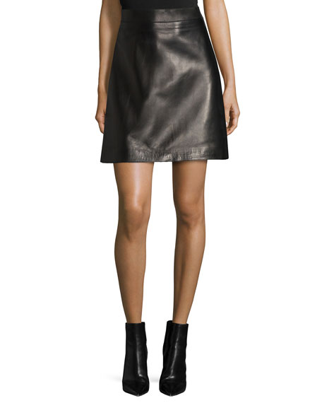 Alexander McQueen A-Line Leather Skirt
