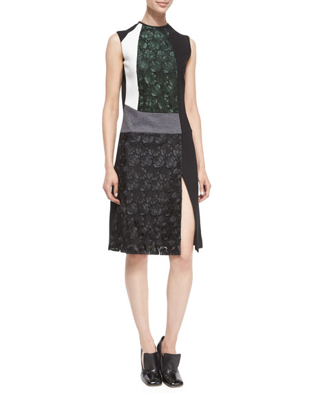 Derek Lam Mixed-Media Sleeveless Lace Dress