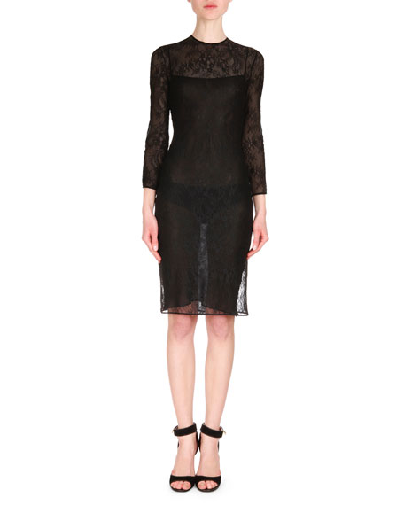 Givenchy Leather Asymmetric-Zip Moto Cape & Semisheer Lace