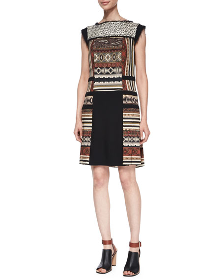 Paneled Geometric-Print Fringe-Trimmed Dress