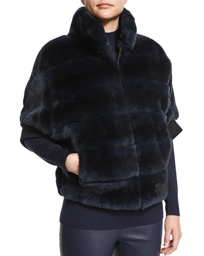 Striped Rabbit Fur Zip Jacket, Dark Navy