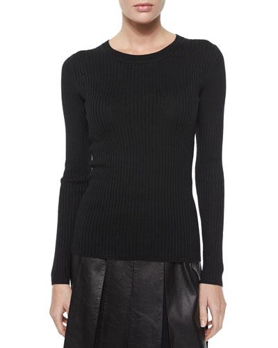 Lightweight Textured Knit Sweater, Caviar