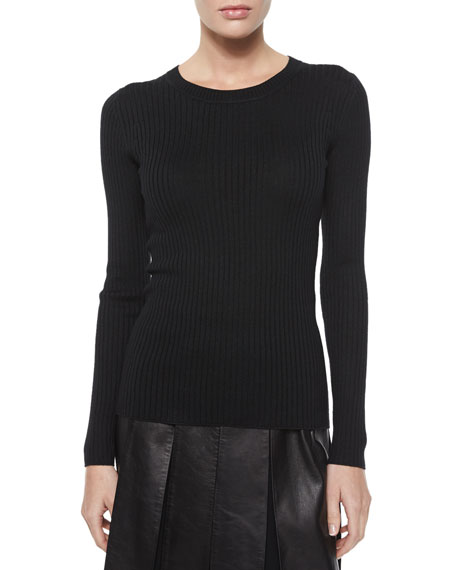 St. John Collection Lightweight Textured Knit Sweater, Caviar