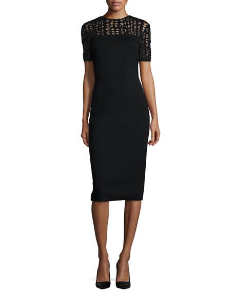 Lace-Yoked Jersey Sheath Dress