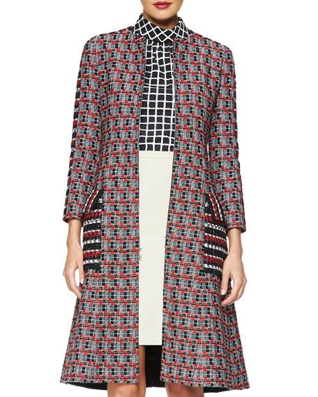 Oscar de la Renta Checked Tweed Long Coat
