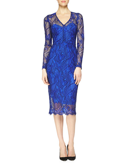 Lela Rose Scalloped Floral Lace Midi Dress