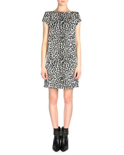 Cap-Sleeve Leopard-Print Shift Dress