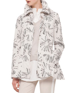Abstract Floral-Print Drawstring Parka