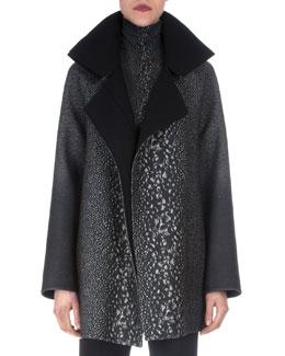 Way-Print Raglan-Sleeve Coat