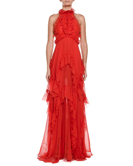 Cascading Ruffle Tulle Halter Gown