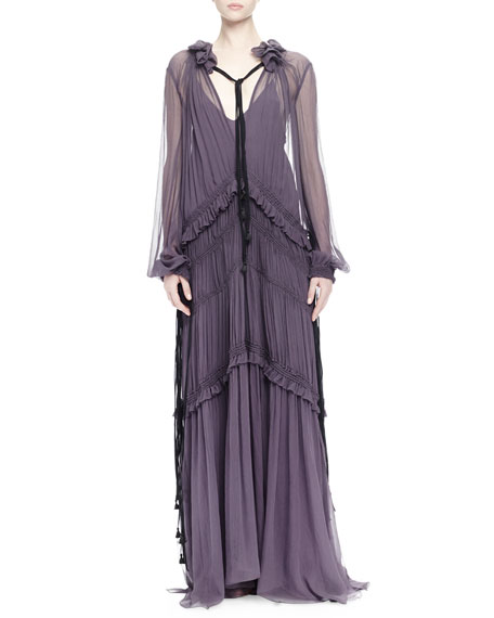 Chloe Ruffled Peasant Gown, Purple