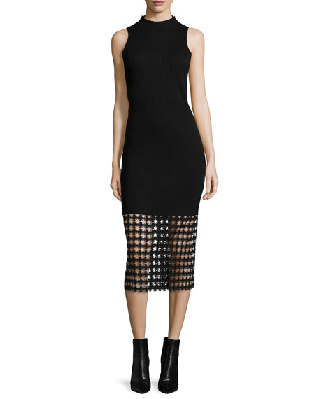 Edun Chain Lace-Hem Ribbed Sheath Dress