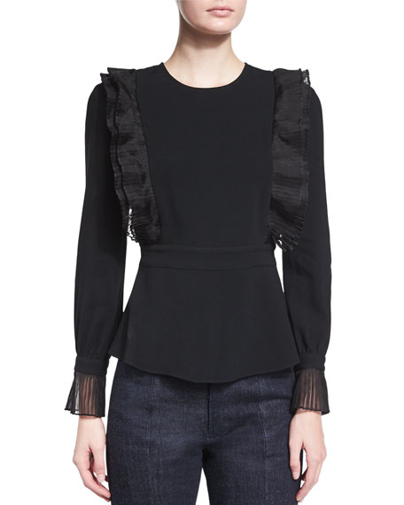 CoLong-Sleeve Ruffled Top, Black