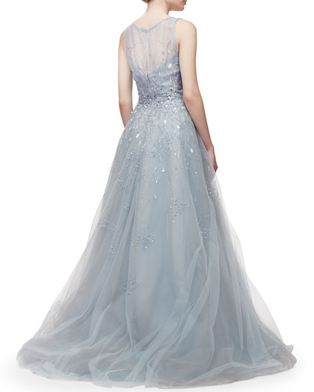 Embroidered Tulle Gown, Blue