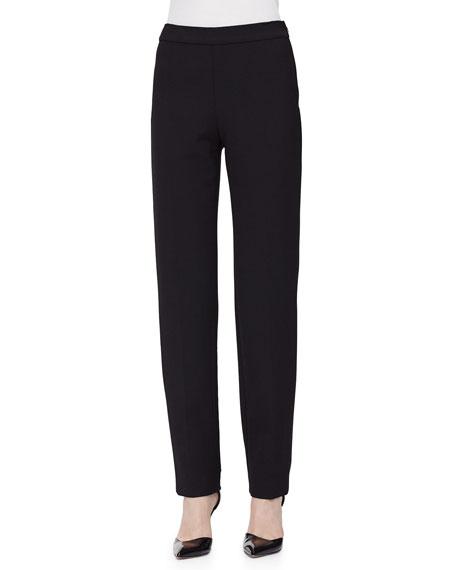 Carolina HerreraClean-Front Pintuck Skinny Pants, Black