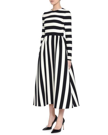 Long-Sleeve Jewel-Neck Large-Striped Dress, Black/White