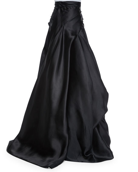 Side-Draped Silk Ball Skirt, Black