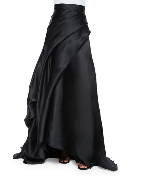 Rubin Singer Side-Draped Silk Ball Skirt, Black