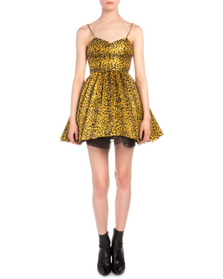 Saint LaurentLeopard-Print Plisse Fit-And-Flare Dress