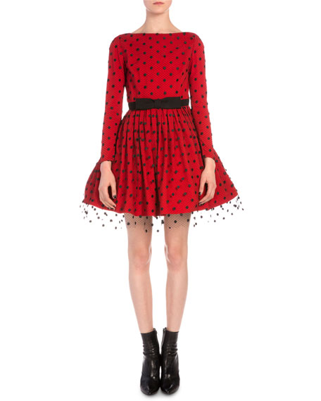 Saint Laurent Point D'Esprit Fit-And-Flare Dress
