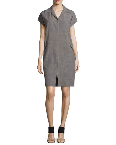 Shamask Cap-Sleeve Shirtdress W/Suede Trim, Storm