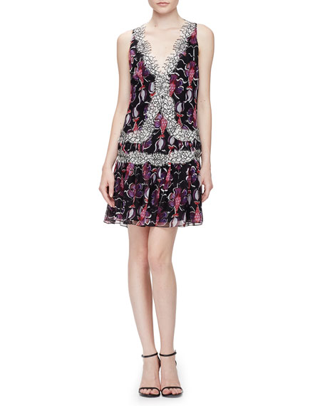 Wes Gordon Floral-Print Lace-Trimmed Flounce Dress