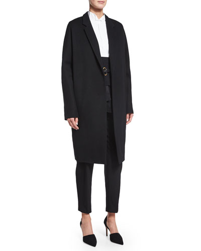 Relaxed Long Slim Coat, Black