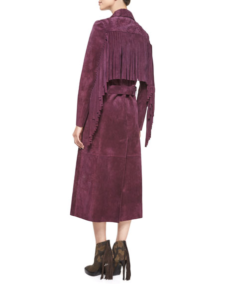 Image 3 of 3: Long-Sleeve Long Trench Coat, Elderberry