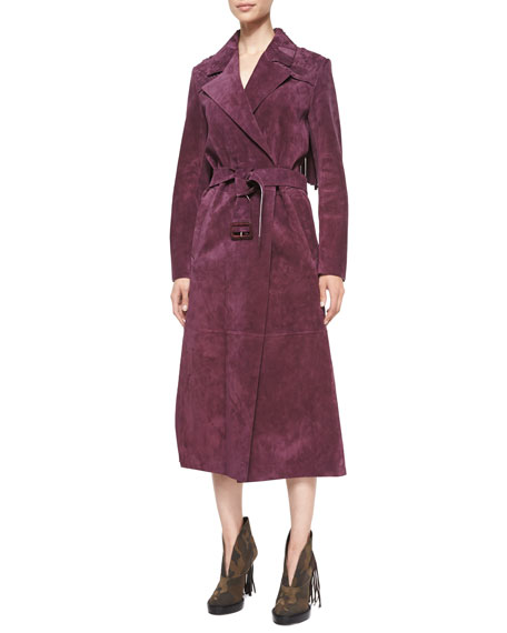 Burberry Long-Sleeve Long Trench Coat, Elderberry