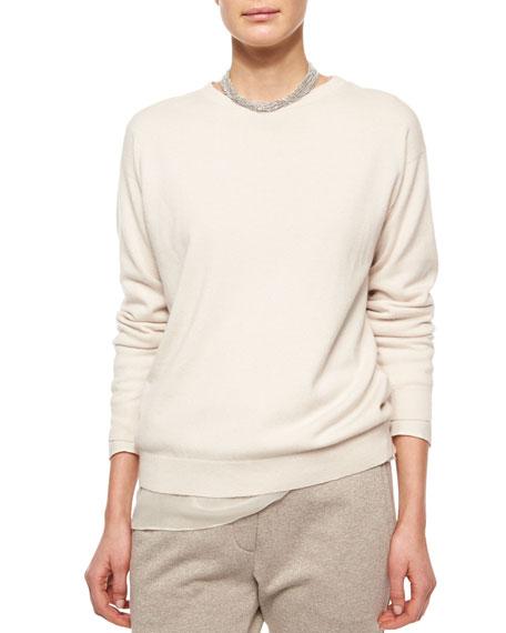 Brunello Cucinelli Chiffon-Trimmed Cashmere Jersey Tunic, Vanilla