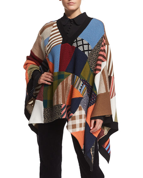 Chloe Patchwork Knit Poncho, Multi Colors