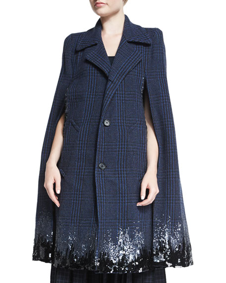Marc JacobsDegrade Sequined Houndstooth Long Cape