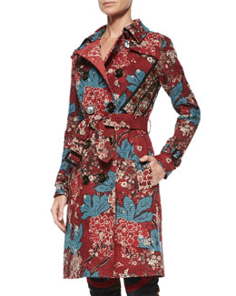 Floral-Print Patchwork Quilted Trenchcoat, Carmine Red