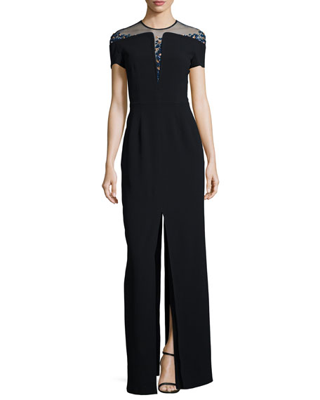 Escada Beaded Off-The-Shoulder Illusion Gown
