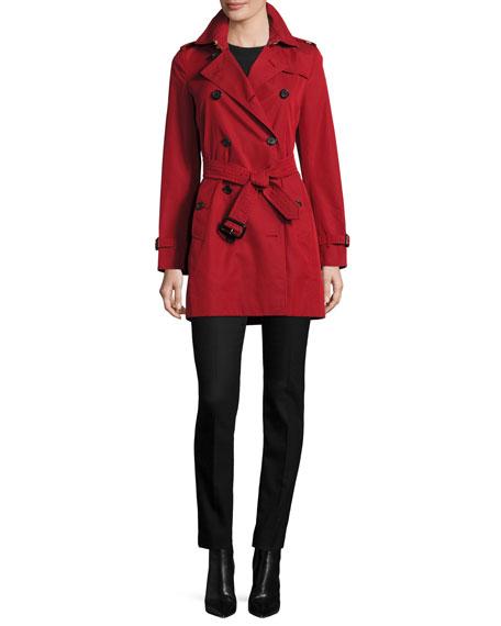 Burberry London Kensington Mid-Length Trenchcoat, Red