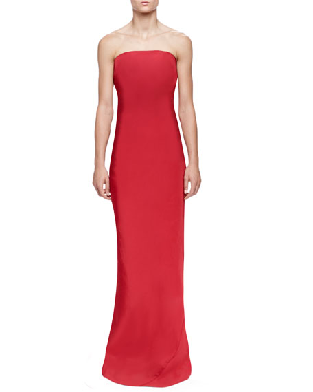 Lanvin Gathered Ruffle-Back Column Gown