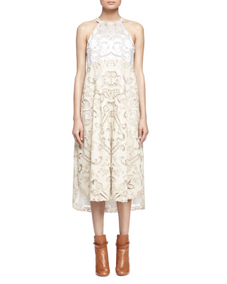 Chloe Embroidered Linen/Cotton Lace-Contrast Halter Dress