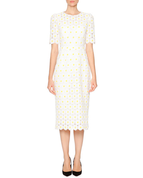 Dolce & Gabbana Macrame Embroidered-Daisy Sheath Dress, White/Yellow