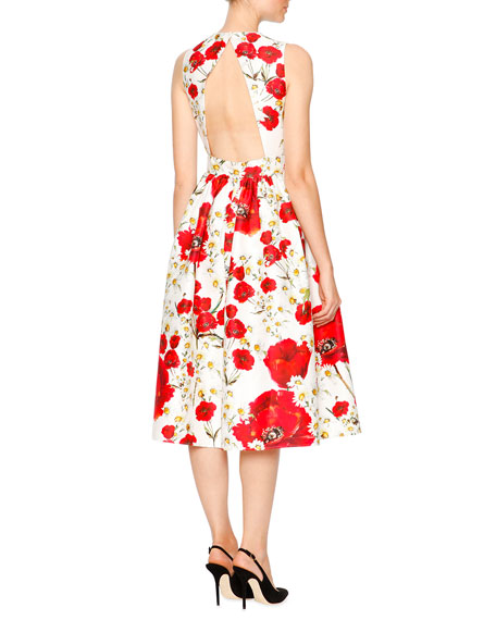Poppy & Daisy Open-Back Party Dress, Red/Black/White