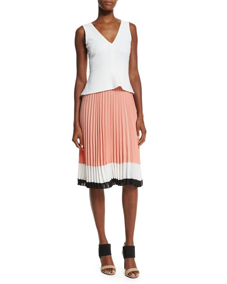 Altuzarra Sleeveless Colorblock Pleated-Skirt Dress, Optic White