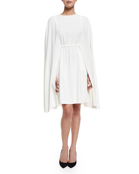 Co Jewel-Neck Crepe Cape Dress, Ivory